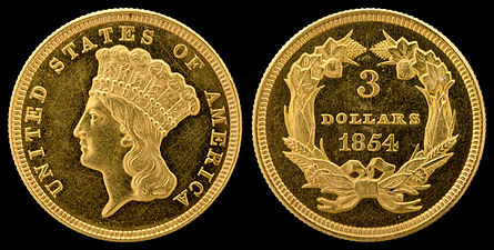 Longacre's design for the three-dollar piece (above) was adapted for the Types 2 and 3 gold dollar.