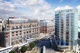 NOMA (Manchester) - The 14 storey Hotel Indigo building on Corporation Street.