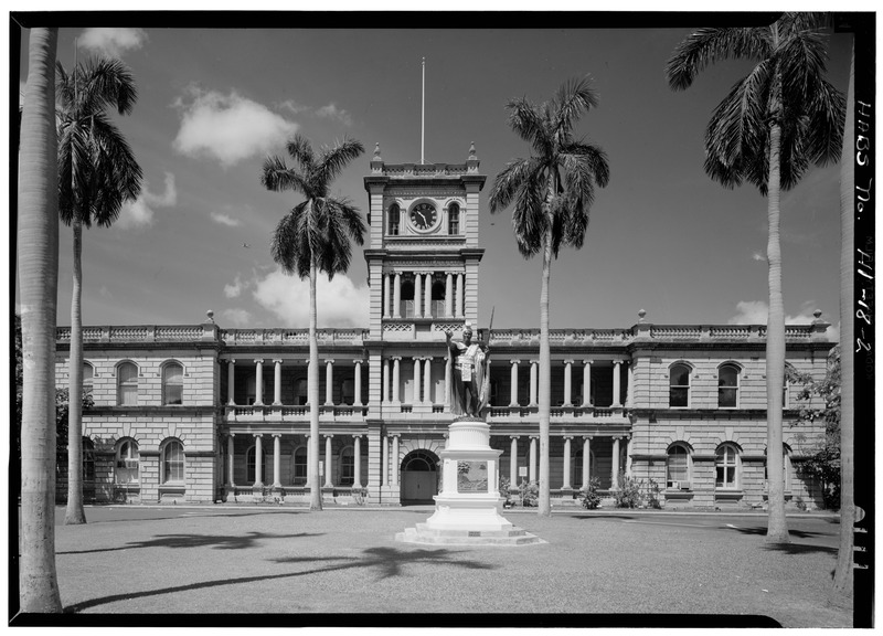 File:NORTHEAST ELEVATION, CLOSER VIEW - Aliiolani Hale, 463 King Street, Honolulu, Honolulu County, HI HABS HI,2-HONLU,3-2.tif