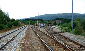 Namsos Line - The Namsos Line (right) branches off from the Nordland Line (left) at Grong Station