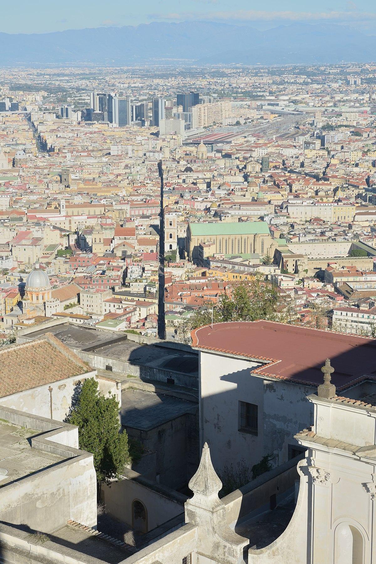 File Naples From The Castello Sant Elmo With Abbazia San Martino And Spaccanapoli Jpg Wikimedia Commons
