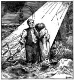 Tegneserie som viser en mann som står sammen med en kvinne, som gjemmer hodet hennes på skulderen, på dekk på et skip som er full av vann.  Det vises en lysstråle som kommer ned fra himmelen for å belyse paret.  Bak dem er en tom davit.