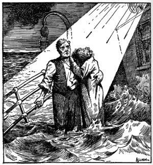 Nearer, My God, to Thee -  alt=Cartoon depicting a man standing with a woman, who is hiding her head on his shoulder, on the deck of a ship awash with water. A beam of light is shown coming down from heaven to illuminate the couple. Behind them is an empty davit.