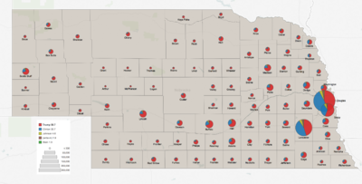 Nebraska 2016 presidential results by county.png