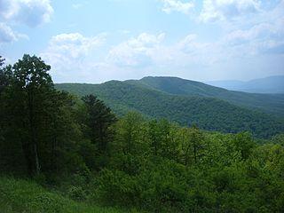Neighbor Mountain part of Blue Ridge Mountains in Virginia