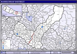 Ramechhap District - Map of the VDCs in Ramechhap District