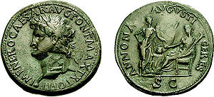 Annona (mythology) - On the reverse of this sestertius of Nero, Annona (standing right) holds a cornucopia, facing Ceres (seated left) holding grain-ears and torch, with a modius on the garlanded altar between them and a ship's stern behind