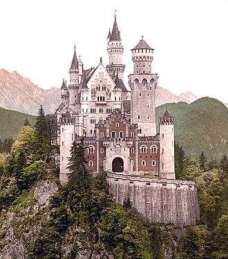 Medievalism - Ludwig II of Bavaria built a fairy-tale castle at Neuschwanstein in 1868 (later appropriated by Walt Disney) as a symbolic merger of art and politics. (Photochrom from the 1890s)
