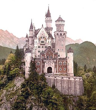 Ludwig II of Bavaria built a fairy-tale castle at Neuschwanstein in 1868 (later appropriated by Walt Disney) as a symbolic merger of art and politics. (Photochrom from the 1890s) Neuschwanstein Castle Cropped frm PC.jpg