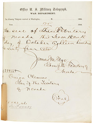 Nevada in the American Civil War - Signature page for the telegraph transmission of the first Nevada State Constitution, October 1864. The handwritten annotation shows the word count (16,543) and cost ($4303.27).