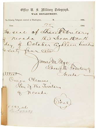 Constitution of Nevada - Signature page for the telegraph transmission of the first Nevada State Constitution, October 1864.  The handwritten annotation shows the word count (16,543) and cost ($4303.27).