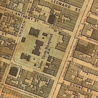 New York Hospital - Map showing New York Hospital on Broadway in between Duane and Worth Streets, with Church street to the rear.