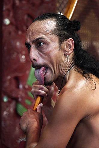 Haka - When performed by men, the haka features protruding of the tongue.