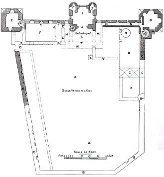 Newport Castle - Ground plan of Newport Castle, showing the portions surviving in 1858. From Archaeologia Cambrensis, 1885