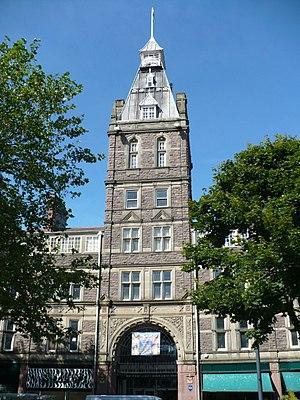 Newport city centre - Newport Market Tower (1854) viewed from Upper Dock Street