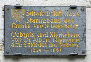 Albert Niemann (chemist) - Memorial plaque in Goslar