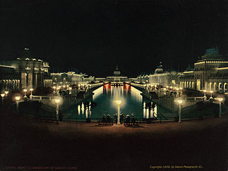 Trans-Mississippi Exposition - Night illumination, Grand Court, Trans-Mississippi and International Exposition, Omaha, Nebraska, 1898