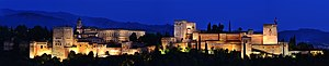 Alhambra - Night view of Alhambra, Granada from Mirador de San Nicolas. Taken on a clear day in July 2017