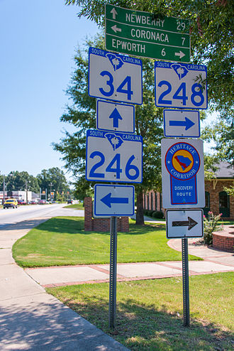 South Carolina Highway 34 - SC 34, SC246 and SC248 in Ninety Six