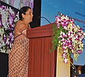 Nirmala Sitharaman addressing the gathering at the inauguration of the Defence Industry Development Meet for Forging New Partnership with Industry for Defence Production, at Kalaivanar Arangam, Chennai.jpg