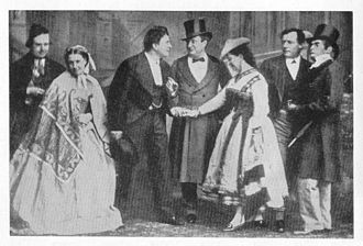 No Thoroughfare - No Thoroughfare by Charles Dickens and Wilkie Collins. Left to right: Joey Ladle (Benjamin Webster), Sally Goldstraw (Mrs. Alfred Mellon), George Vendale (Henry G. Neville), Jules Obenreizer (Charles Albert Fechter), Marguerite (Carlotta Leclercq), Walter Wilding (John Billington), and Bintrey (George G. Belmore).