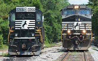 A former Southern Railway SD40-2 with a new Admiral Cab (on the left), being passed by another NS train. Norfolk Southern locomotives.jpg