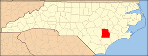 National Register of Historic Places listings in Duplin County, North Carolina - Image: North Carolina Map Highlighting Duplin County