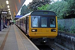 Northern Rail Class 142, 142011, Salford Crescent railway station (geograph 4500620).jpg