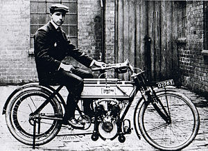 1907 Isle of Man TT - Rem Fowler on the Peugeot-engined Norton, winner of the twin-cylinder race
