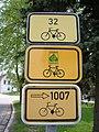 Nová Bystřice, značky cyklotras.jpg