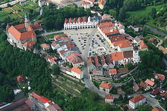 Nové Město nad Metují - Aerial view of the castle and the old town