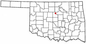 Mulhall, Oklahoma - Image: OK Map doton Mulhall