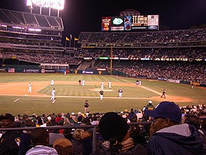 Oakland-Alameda County Coliseum during a baseball game