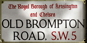 Old Brompton Road - Image: Old Brompton Road sign