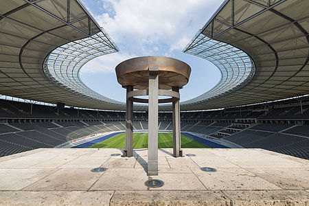 """View from the Marathon Gate into the Olympiastadion in Berlin"""