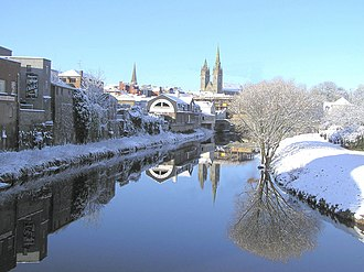 Omagh - Snow is common in Omagh during the winter months. Shown here is the River Strule.