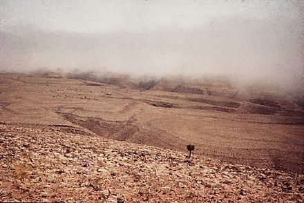 The view from Akoot, in the Jebel Qara, at the start of the khareef (monsoon) season Oman. Dhofar 1972 (8626144207).jpg