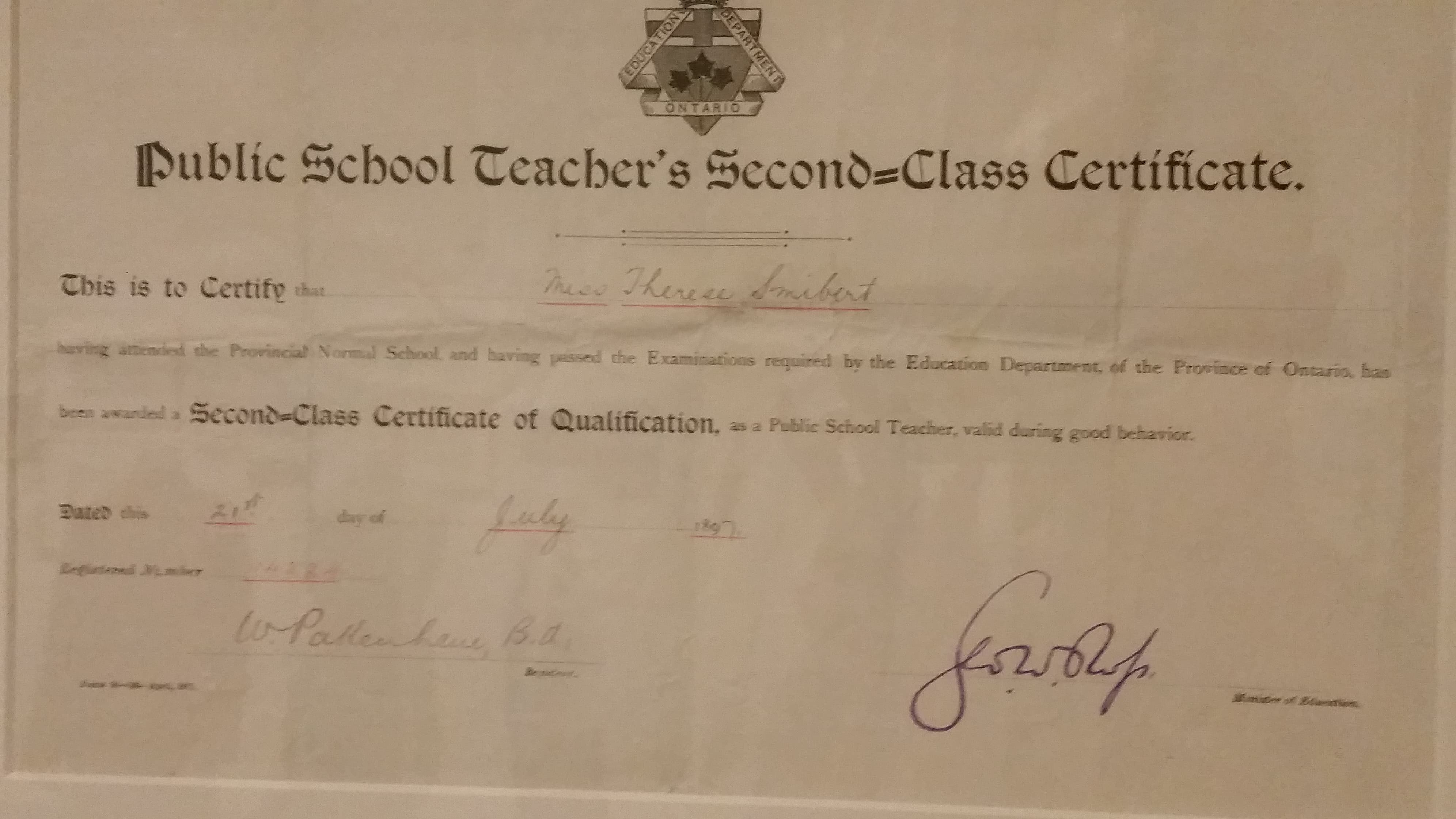 Fileontario Public School Teaching Certificateg Wikimedia Commons