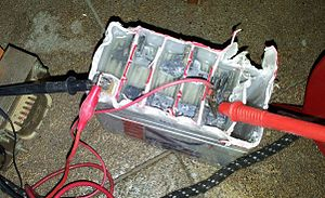 Lead–acid battery - Internal view of a small lead-acid battery from an electric-start equipped motorcycle