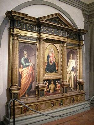 Pier Francesco Foschi - Image: Oratorio dei bini, ancona di baccio d'agnolo, con pannelli di rossello di jacopo franchi (madonna), maestro di serumido (pietà e predella) e pier francesco foschi (lati)
