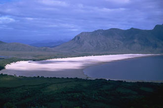 Geodiversity - Lake Pedder, south west Tasmania, prior to inundation as part of a hydro-electric development. Submergence of this unique landform assemblage and geoheritage feature beneath 15 m of water was one of many triggers to formulation of geoconservation philosophy.
