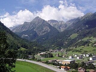 Orsières Place in Valais, Switzerland