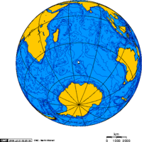 Ортографическая проекция мира с центром на острове Кергелен