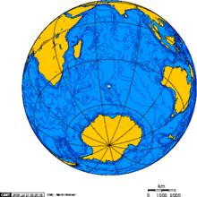 Localizzazione della platea (la macchia bianca corrisponde all'isola della Desolazione (Arcipelago delle Kerguelen))