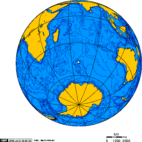 Orthographic projection centred over Kerguelen Island
