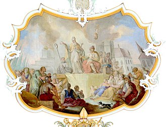 Aidan of Lindisfarne - Ceiling fresco in St. Oswald Church, Bad Schussenried, Germany: King Oswald of Northumbria translates the sermon of Aidan into the Anglo-Saxon language, by Andreas Meinrad von Ow, 1778.