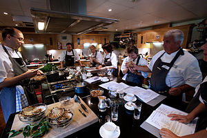 Cooking school - A class at the Raymond Blanc cooking school in Oxford, England