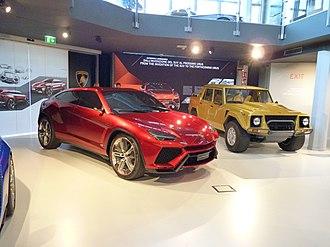 Lamborghini Urus - Lamborghini Urus Concept alongside the Lamborghini LM002