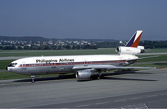 Philippine Airlines - A Philippine Airlines DC-10 in Zurich. The airline operated 6 DC-10s, which consisted of five −30 series and one −30CF series.