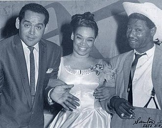La Lupe - La Lupe with Pacho Alonso (left) and Benny Moré (right), ca. 1959. All three were signed to the RCA Victor subsidiary Discuba.